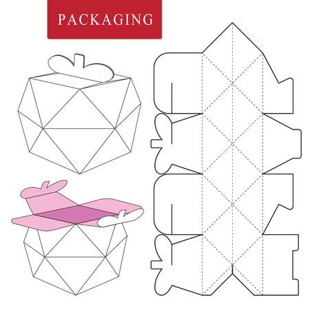 Paquet de concept de fruits. Illustration vectorielle de Box.Modèle de paquet. Maquette de vente au détail blanche isolée.