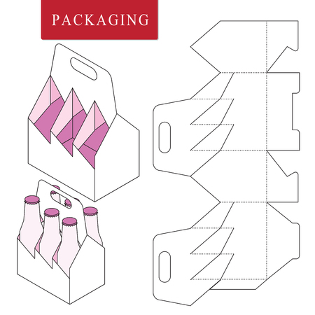 Packaging for can bottle.Vector Illustration of Box.Package Template. Isolated White Retail Mock up. Ilustração Vetorial