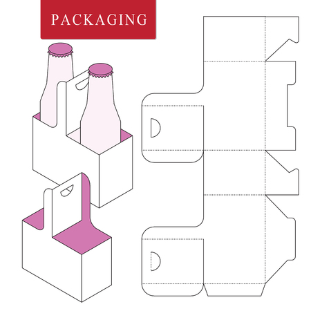 Packaging for  can bottle.Vector Illustration of Box.Package Template. Isolated White Retail Mock up. Foto de archivo - 123945259