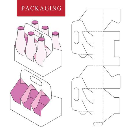 Verpackung für Dose Bottle.Vector Illustration der Box.Package-Vorlage. Isolierte weiße Einzelhandels-Mock-up.