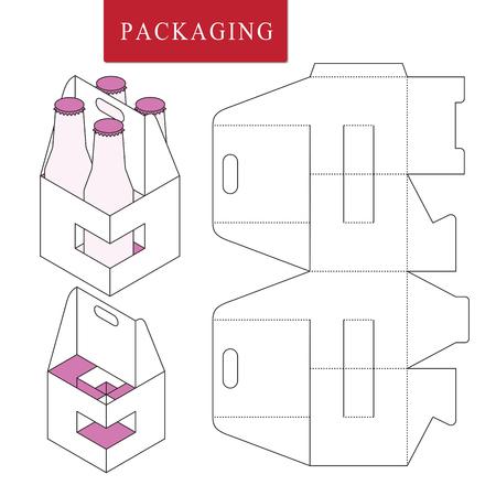 Embalaje para botella de lata.Ilustración de vector de caja.Plantilla de paquete. Maqueta minorista blanca aislada. Ilustración de vector
