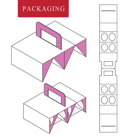 Emballage pour bouteille de canette. Illustration vectorielle de Box.Modèle de paquet. Maquette de vente au détail blanche isolée. Vecteurs