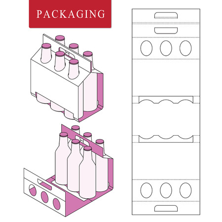 Embalaje para botella de lata.Ilustración de vector de caja.Plantilla de paquete. Maqueta minorista blanca aislada.