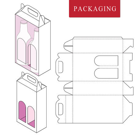 Packaging for  can bottle.Vector Illustration of Box.Package Template. Isolated White Retail Mock up.