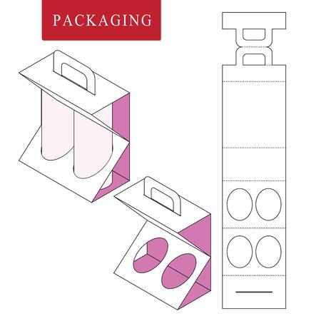 Verpackung für Dose Bottle.Vector Illustration der Box.Package-Vorlage. Isolierte weiße Einzelhandelsmodell. Vektorgrafik