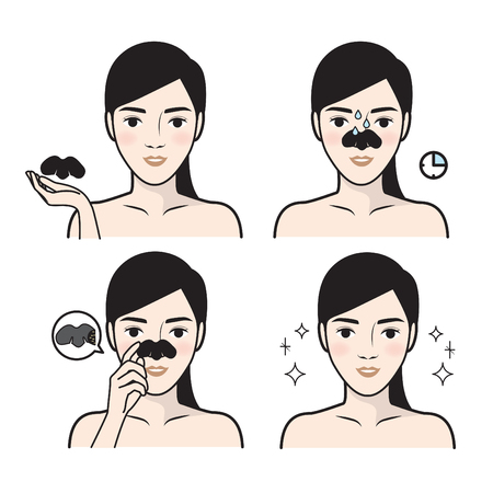 Steps how to facial care. Infographics simple style. Vector illustration.