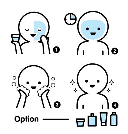 Steps how to facial care. Infographics simple style. Stock Vector - 123945163