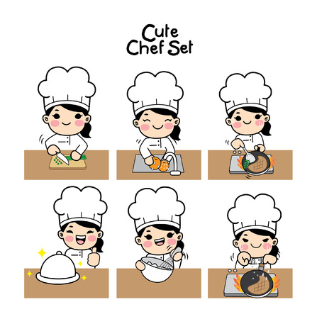 Cute chef character  set. Characters set in chef uniform.Vecter