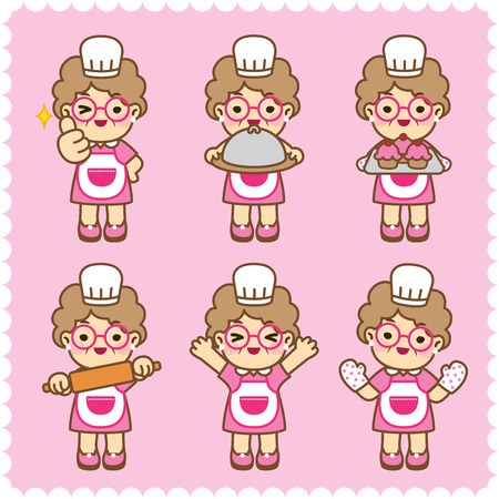 Grandmother is cooking.Cute style.Vector design set. - Vector