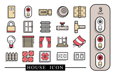 House material icon.There are 3 style.The file has separate layers.