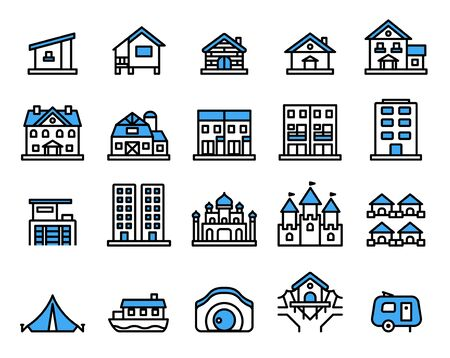 Accommodation icon set.Vector thin line style.Pixel perfect preview. Çizim