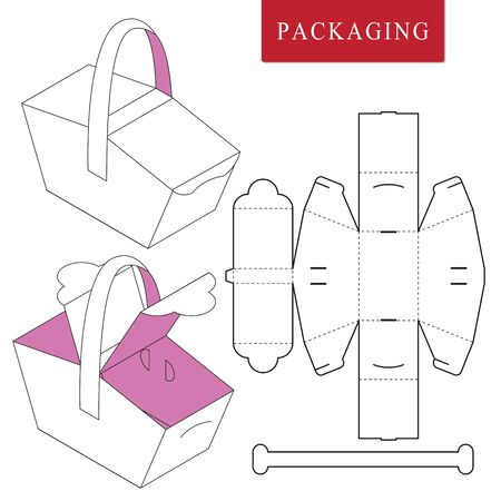 Package template picnic concept.Vector Illustration of handle box.