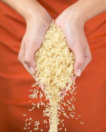 Falling Basmati Rice  Stock Photo