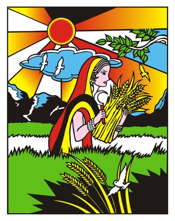 Beautiful Girl Harvesting the New Crop of Wheat or Rice Illustration