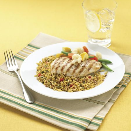 Dish of Rice with chicken  Stock Photo