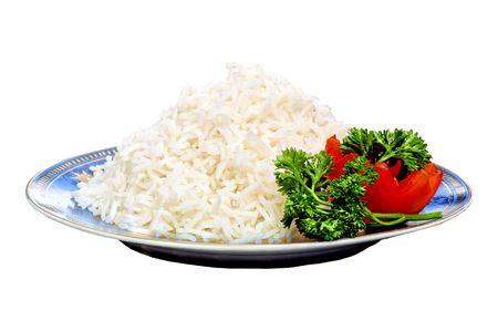 Cooked White Basmati Rice with Tomato Stock Photo