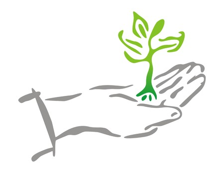 Sprout of Plant on Hand Illustration
