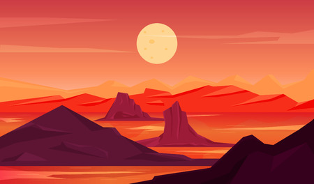Red mystery out of the world landscape background Illustration