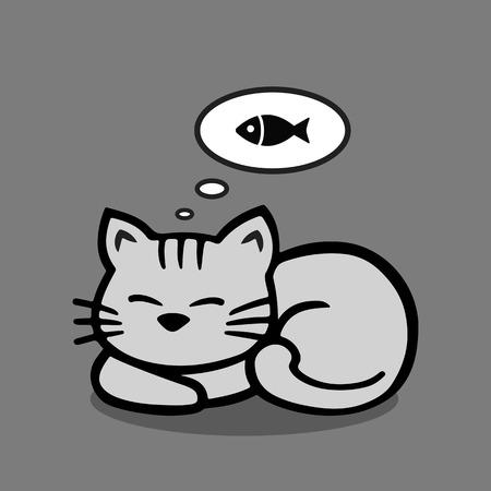 Il gatto dorme e sogna di un pesce. Archivio Fotografico - 71583094