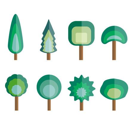flat: Tree flat design set