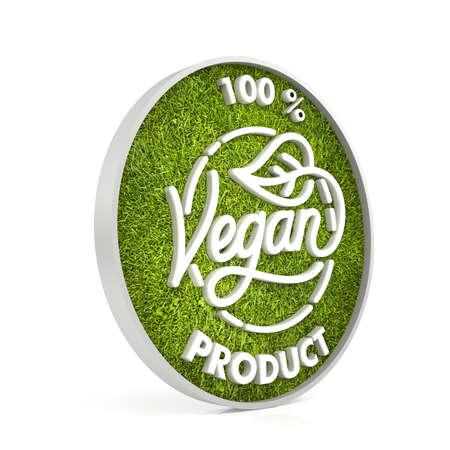 100 Vegan Product - 3D Renderon Isolated White Background.