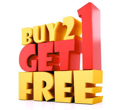 Buy 2 Get 1 Free -3D Yellow & Red Render on white background with reflection Stock fotó