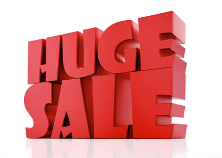 Huge Sale - 3D Red Render on white background with reflection.