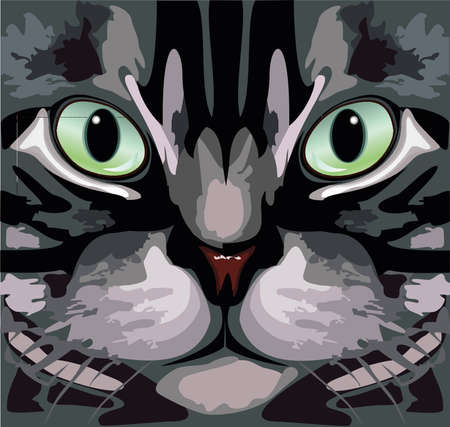 green eyes: Cat striped, grey with green eyes Illustration