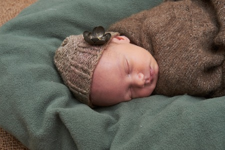 newborn girl sleeps on sackcloth, portrait, flowers, brown 写真素材 - 122719523