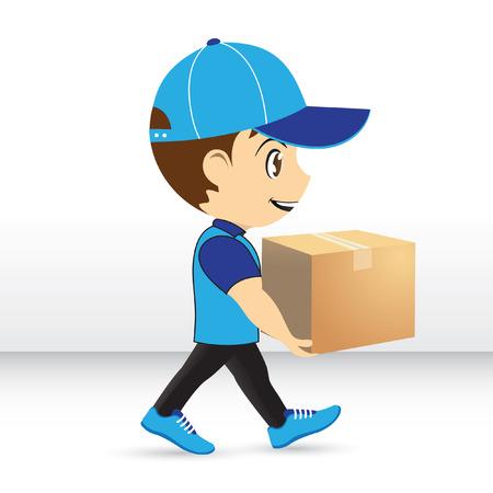delivery boy: Delivery Boy. Delivery service. Package delivery cartoon.