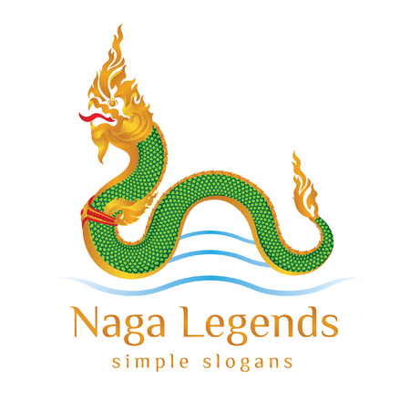 Dragon green snake believed by locals to live in the mekong river or estuaries naga legends simple slogan