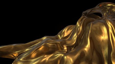 tissu or: Tissu d'or en arri�re-plan noir souffl� dans l'air -3D Illustrer