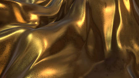 tissu or: Gold Cloth in Black background blown in the air -3D Illustrate