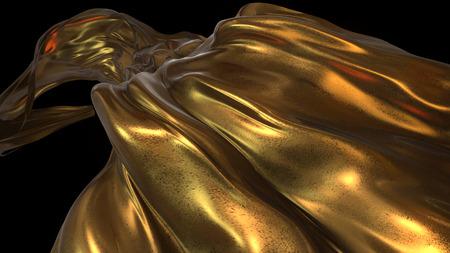 tissu or: Tissu d'or en arrière-plan noir soufflé dans l'air -3D Illustrer