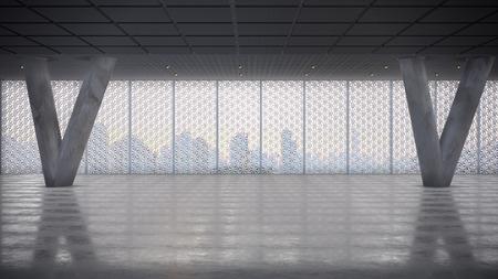 render: Render of Empty Concrete Hall