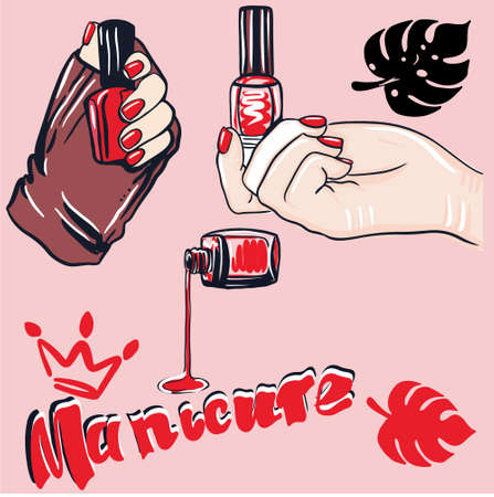Female hands with fingers, red nail polish, a bottle of nail polish. Cosmetics and manicure concept 矢量图像