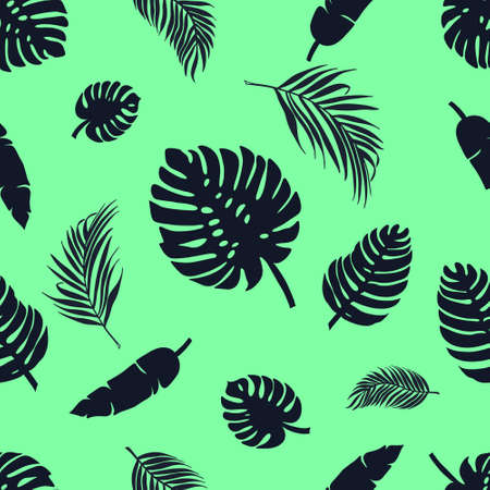 Pattern Tropical leaves of palm, monstera. Set of black silhouettes of tree leaves. Vector illustration 向量圖像
