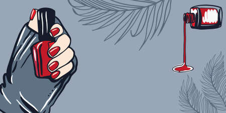 Female hand with fingers and painted nails, red nail polish, bottle of nail polish. Cosmetics and manicure concept for business cards, flyers, banners