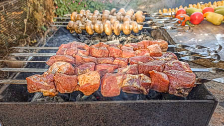 Traditional skewers on skewers and barbecue. Springtime outdoor recreation. Grilled meat. summer, spring