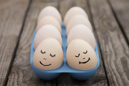 Happy couple in love  Eggs   photo