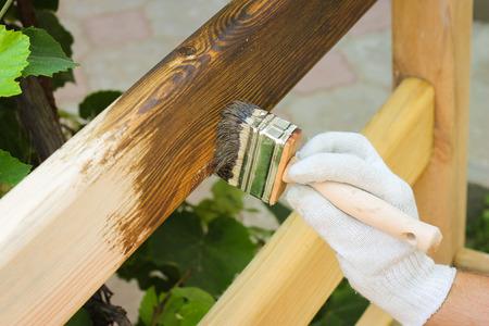漆木製フェンスで覆われた男