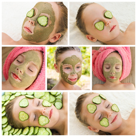 Collage beautiful girl with facial mask of cucumber photo