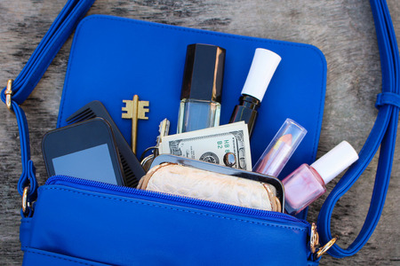 cosmetics bag: Blue women purse. Things from open lady hand bag.