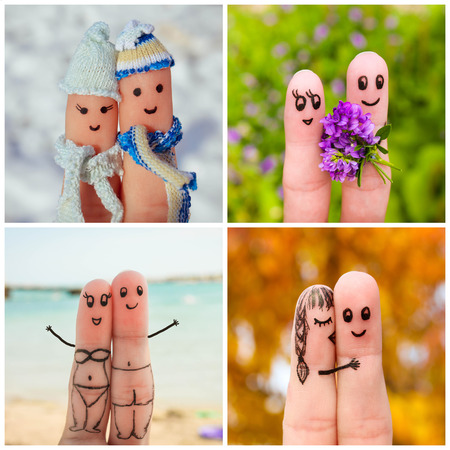 Finger art of a Happy couple. Four Seasons: winter, spring, summer, autumn. Stock Photo