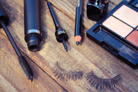 Cosmetics for eyes: pencil mascara eyeliner false eyelashes