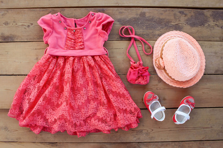 colorful dress: Summer childrens clothing: dress purse hat shoes