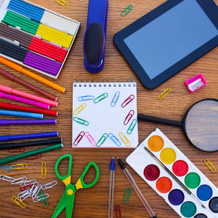 colored school: Stationery objects. Office and school supplies on the table. back to school.