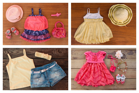 Collage summer childrens clothing and accessories: dress, sundress, t-shirt, denim shorts, shoes, hat, handbag, headband