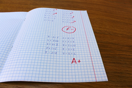 pass test: Errors corrected in red pen in a notebook. Bad score for the solution of mathematical expressions. Mark F. Another task is solved at the grade A.