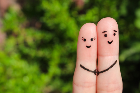 husbands and wives: Finger art of a Happy couple. Happy couple holding hands.